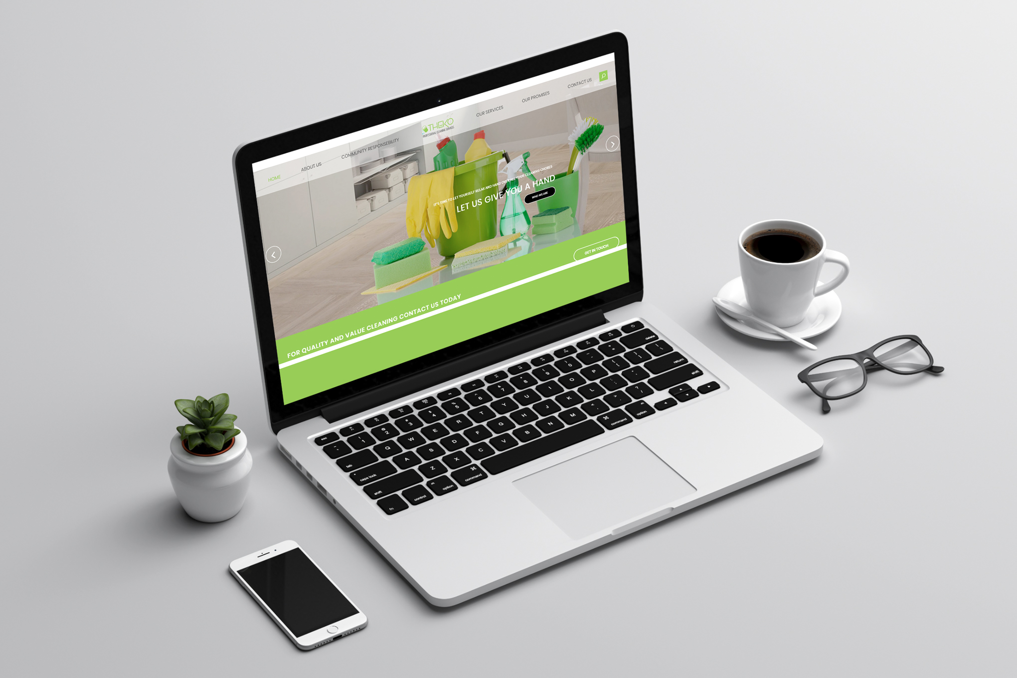 Theko-Cleaning-Website-on-laptop